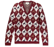 Wool-jacquard Sweater - Burgundy