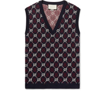 Slim-fit Logo-jacquard Wool Sweater Vest - Midnight blue