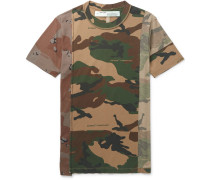Deconstructed Camouflage-print Cotton-jersey T-shirt - Army green