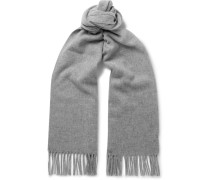 Canada Narrow Fringed Mélange Wool Scarf