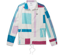 Colour-Block Checked Shell Jacket