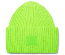 Logo-appliquéd Ribbed Wool Beanie - Bright green