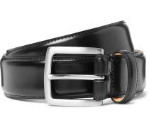 3.5cm Black Horween Shell Cordovan Leather Belt - Black