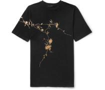 Oversized Metallic Floral-print Cotton-jersey T-shirt