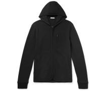 Slim-fit Cotton-blend Fleece Zip-up Hoodie - Black
