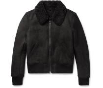 Slim-fit Shearling Bomber Jacket - Black
