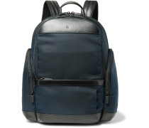 Nightflight Leather-trimmed Canvas Backpack - Blue