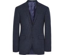 Blue Slim-fit Micro-checked Virgin Wool Blazer