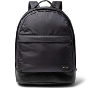 Leather-trimmed Shell Backpack - Navy