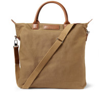 O'hare Leather-trimmed Organic Cotton-canvas Tote Bag - Brown