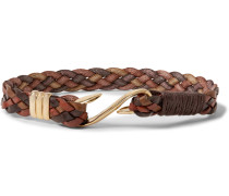 Woven Leather And Gold-tone Bracelet