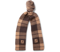 Logo-jacquard Checked Wool Scarf