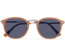 D-frame Leather And Silver-tone Sunglasses - Tan