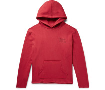 Oversized Logo-embroidered Knitted Cotton Hoodie - Red