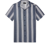 Vacation Camp-collar Striped Cotton-blend Shirt - Navy