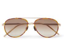 Aviator-style Tortoiseshell Acetate And Gold-tone Titanium Sunglasses