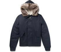 Shearling-trimmed Cotton-blend Shell Hooded Jacket - Navy