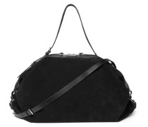 Leather-trimmed Suede Holdall - Black