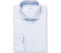 Light-grey Cutaway-collar Gingham Cotton Shirt
