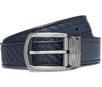 3.5cm Blue Reversible Pelle Tessuta Leather Belt - Blue