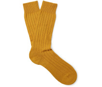 Waddington Ribbed Cashmere-blend Socks - Mustard