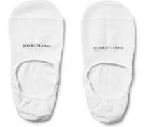Invisible Touch Pima Cotton-blend No-show Socks - White