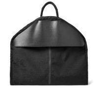 B-Way Scritto Leather-Trimmed Nylon Garment Bag