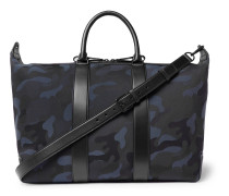 Leather-trimmed Camouflage-print Canvas Holdall - Navy