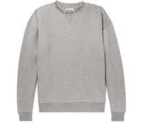Flogho Logo-print Mélange Fleece-back Cotton-jersey Sweatshirt - Gray
