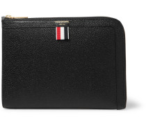 Striped Grosgrain-trimmed Pebble-grain Leather Zip-around Pouch - Black