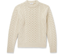 Cable-knit Camel Hair Sweater - Cream