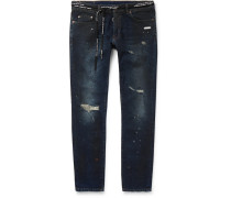 Skinny-fit Distressed Stretch-denim Jeans - Blue