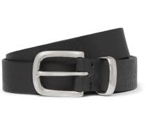 2.5cm Black Textured-leather Belt - Black