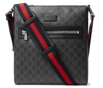 Leather-trimmed Monogrammed Coated-canvas Messenger Bag - Black