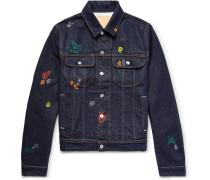 Tent Gum Paint-splattered Denim Jacket - Dark denim