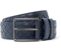 3cm Blue Intrecciato Leather Belt