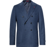 Navy Slim-fit Unstructured Double-breasted Wool And Cashmere-blend Blazer - Navy
