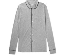 Piped Mélange Cotton-jersey Pyjama Shirt