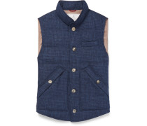 Slim-fit Checked Quilted Wool, Linen And Silk-blend Down Gilet