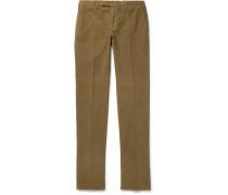 Slim-fit Garment-dyed Stretch-cotton Corduroy Trousers - Tan