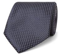 7cm Textured-silk Tie - Midnight blue