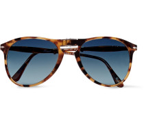 Folding Aviator-style Tortoiseshell Acetate Sunglasses - Tortoiseshell