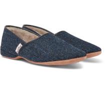 Crawford Shearling-lined Harris Tweed Slippers