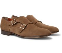 Suede Monk-strap Shoes - Brown