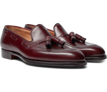 Adrian Burnished-leather Loafers - Burgundy