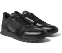 Valentino Garavani Rock Runner Suede, Leather And Canvas Sneakers - Black