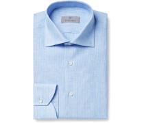 Light-Blue Slim-Fit Striped Linen Shirt