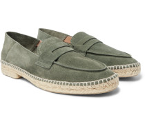 Nacho Collapsible-heel Suede Loafer Espadrilles - Green