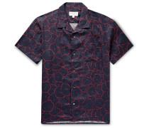 Milan Camp-Collar Floral-Print Linen Shirt