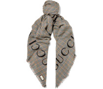 Fringed Logo-Print Prince of Wales Checked Wool Scarf